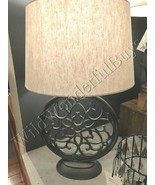 Pottery Barn Brookings Table Lamp Gray 25H Round Farmhouse with Lampshad... - $130.00