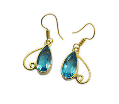 Blue Gold Plated Glass adorable blue topaz cz jewelry Earring UK gift - $14.48