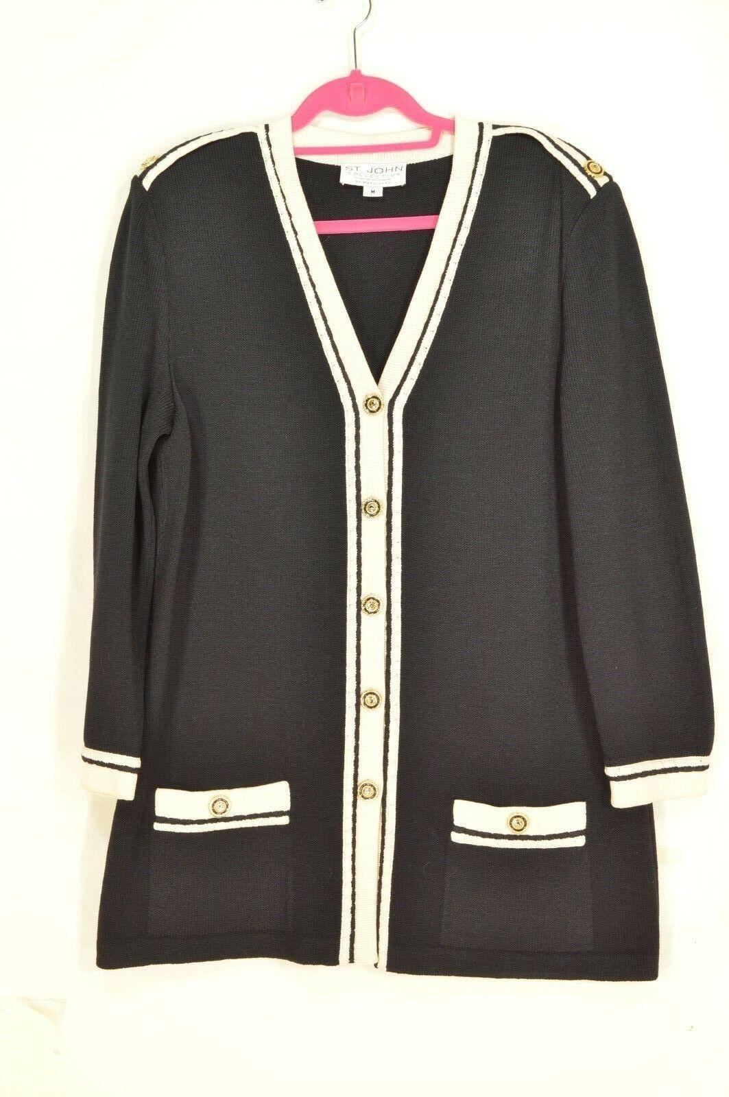St John Marie Gray jacket blazer M santana knit black cream trim epaulettes USA