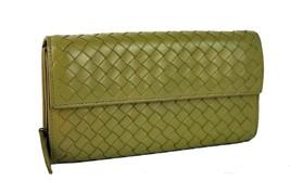 Auth Bottega Veneta Mustard Intrecciato Bifold Long Wallet Leather Italy... - $187.11