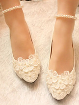 Wedding shoes ivory white pearls Ankle Strips Lace Bridal Ballet Flats S... - $38.00