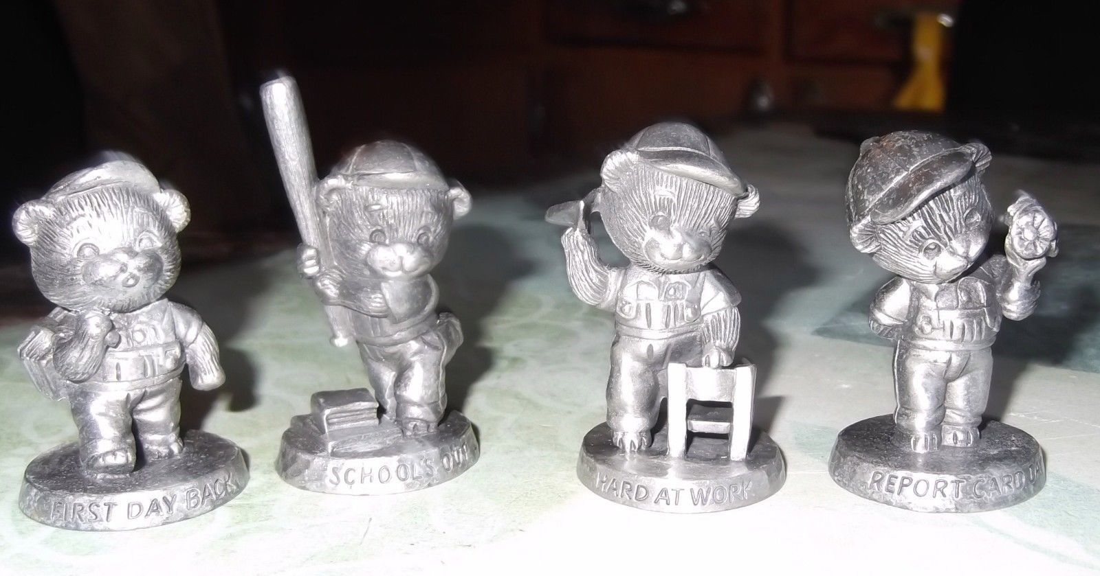 Primary image for Vintage Four Pewter Figures From Avon