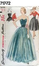 VTG Sewing Pattern Simplicity #3694 Size 12 Bust 30 Dress ,Bolero 1951 - $24.12