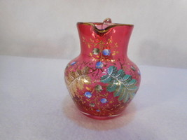 Vintage Moser Mini Hand Painted Cranberry Creamer - $292.05