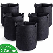 MAXSISUN 5-Pack 2 Gallon Plant Grow Bags, Heavy Duty Thickened Non-Woven... - $10.09