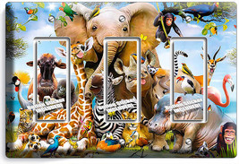 African Jungle Animals 3 Gang Gfi Lightswitch Wall Plate Baby Nursery Room Decor - $16.19