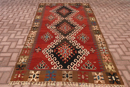Large Size Vintage Handmade Kilim Rug Turkish Anatolian  Handwoven Rug H... - $699.00