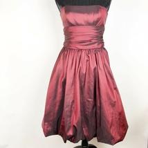 David's Bridal Size 4 81255 Red Wine Taffeta Strapless Bubble Hem Dress ... - $45.00