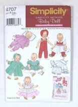 Simplicity Baby Girl Doll Clothes Pattern Sizes S-M-L Archives 4707 Retr... - $9.79