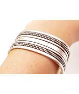 CELINA YAZZIE NAVAJO 925 Silver - Vintage Rope Twist 2 Row Cuff Bracelet... - $177.61
