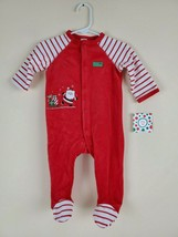 Little Me Size 9 Months My First Christmas Velour Pajamas Sleeper Footed... - $14.60