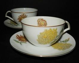 2 Kent Verona China Cup & Saucers Occupied Japan Chrysanthemums Gold Rim... - $34.64