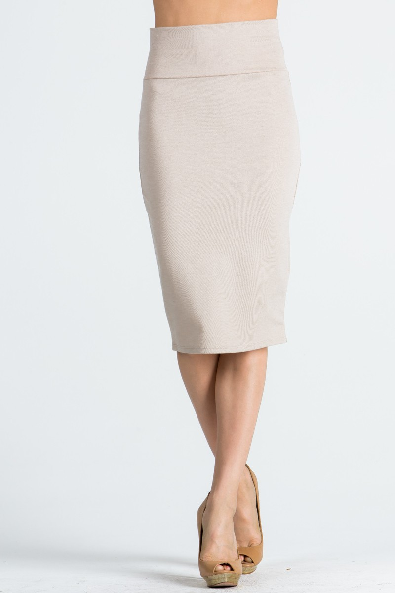 Fitted Midi Taupe Pencil Skirt, Taupe Fitted Skirt with Slit, Wardrobe Staple