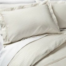 Neutral Woven Striped Duvet Cover Set Queen Light Taupe New In Package - $43.55