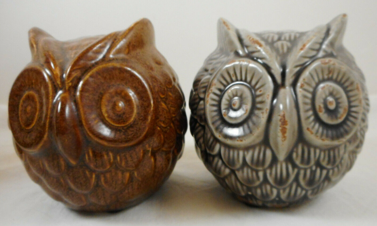 "Primary image for 4"" Owl Round Ball Figurine Ceramic Pottery Set of 2"