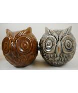 "4"" Owl Round Ball Figurine Ceramic Pottery Set of 2 - $19.79"