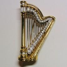 Designer Signed Swarovski Crystal Rhinestone Harp Goldtone Pin Brooch - $55.44