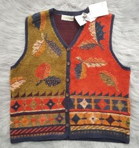 SIGRID OLSEN SPORT Womens Sz L Knit V-Neck Sweater Vest Autumn Fall Leav... - $14.01