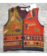 SIGRID OLSEN SPORT Womens Sz L Knit V-Neck Sweater Vest Autumn Fall Leav... - $14.01