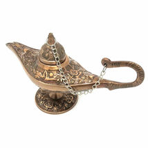 "Brass Genie Lamp 6"" Miniature Copper Finish Aladdin Arabian Vintage Styl... - $40.17"