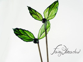 SALE! Big Emerald Leaves Hair Pin (set of 2) Handmade Green Stick Resin ... - $48.00