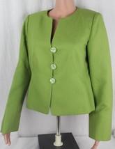Armani collezioni women's designer blazer texture silk cotton green size 12 - $64.95