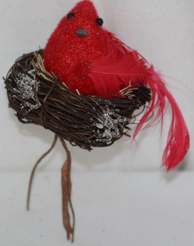 Unbranded Red Styrofoam Cardinal Nest Snow Stem Household Decoration
