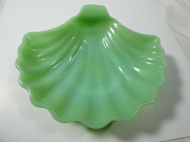 "VTG Fire King Jadeite Green Sea Shell dish Bowl Candy Dish 7""x 6.5""  - $54.45"