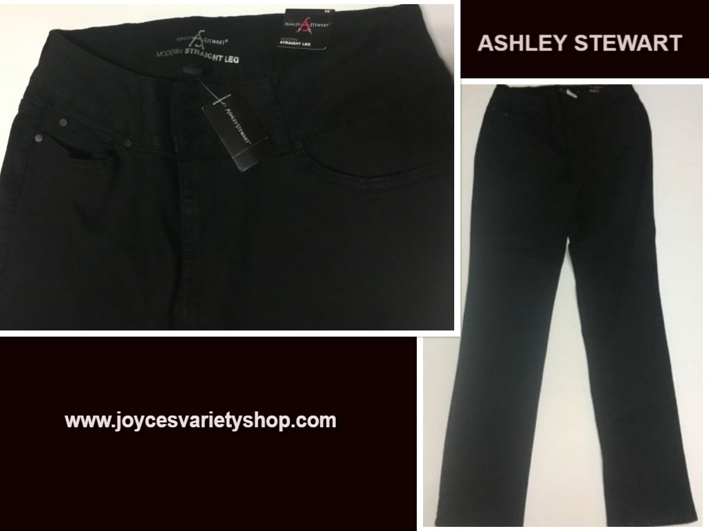 Primary image for Ashley Stewart Jeans Black Straight Leg Sz 14 NWT
