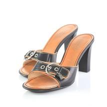 Coach Daryn Black Leather Buckle High Heel Sandals Slides Shoes Womens 7... - $29.57