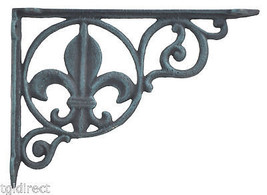 "Wall Shelf Bracket Brace Fleur De Lis Verdigris Cast Iron Home Decor 8.625"" - $13.21"