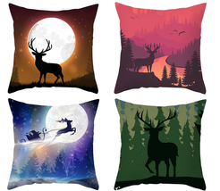 Pillow cover christmas,18×18,Elk Throw pillow case,Square Decor cushion ... - $31.99