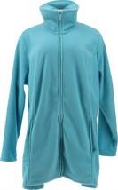 Denim & Co Fleece Zip Long Slv Jacket Hi-Low Hem Ocean Blue 1X NEW A295714 - $22.75