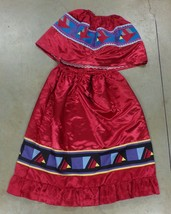 Native American Patchwork Skirt Cape Women Dance Regalia Cardinal Red Bi... - $179.99