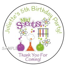 """12 Science Personalized Birthday Party Stickers Favors Labels tags 2.5"""" ... - $8.99"""