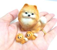 Pomeranian Puppy Dog Miniature Figurine Brown Ceramic Animal Paint Dollh... - $24.30