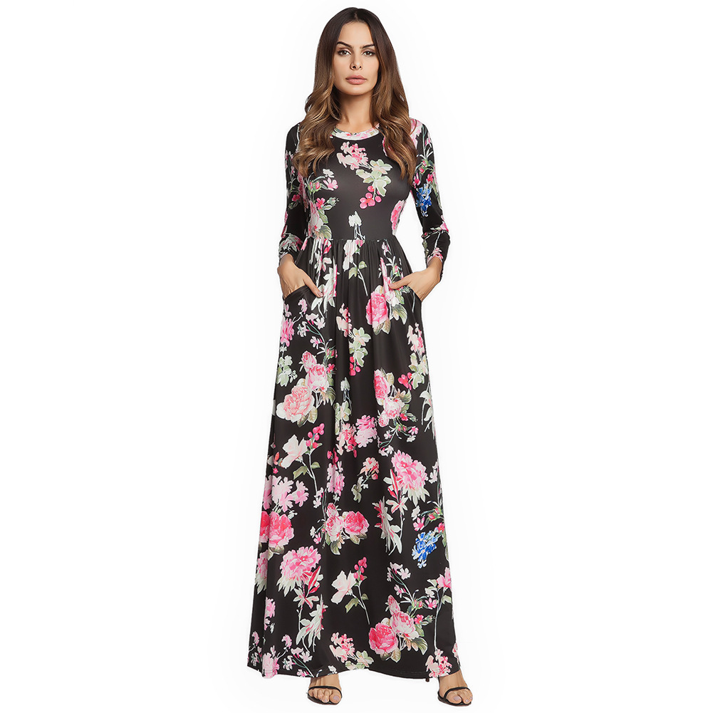 Primary image for AOVEI Black Floral Print Long Sleeve Boho Maxi Long Tube Beach Dress Robe