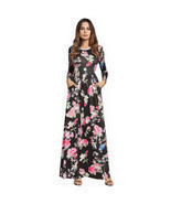 AOVEI Black Floral Print Long Sleeve Boho Maxi Long Tube Beach Dress Robe - $39.79 CAD