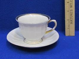 Kahla Cup & Saucer Set White China w/ Gold Trim German Ribbed Vintage - $9.89