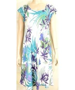 1 Jams World dress SZ M NWOT blue green taupe palms floral 100% rayon - $34.64