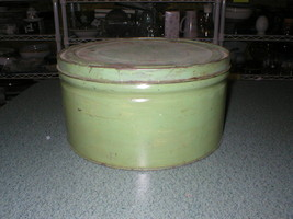 """Vtg Antique 10"""" Round TIN CAN Green Container W/Lid Shabby Steampunk Ind... - $24.89"""