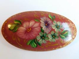 """Vintage Hand Painted Pink Floral Designer Signed Brooch Pin 2"""" - $13.16"""