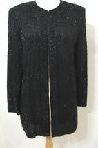 BRILLIANTE JA Evening Jacket Vintage 100% Silk Black Beaded Open LS M - $179.99