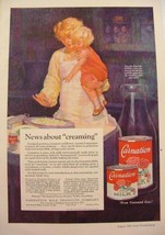1926 CARNATION MILK CREAMED POTATOES MOM & TODDLER COOKING PRINT AD  - $9.99