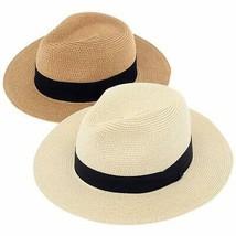 DeELF 2 Packs Beach Hats for Women Summer Straw Sun Hats Wide Brim Panam... - $44.37