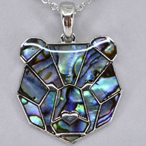 A.T. Storrs Wild Pearle Abalone Shell Bear Head Pendant & Silver Tone Necklace image 2