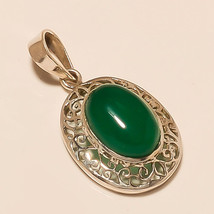 Natural Green onyx Gemstone 925 Sterling Silver Pendant Fashion Women Jewelry AA - $15.70