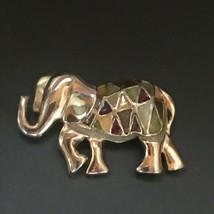 Estate Goldtone Elephant w Mustard Green & Cranberry Enamel Triangles Pi... - $13.09