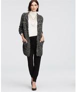 Ann Taylor Marled Fringe Trim Cardigan, Black, Acrylic/Cotton, Size M, NWT - $76.94