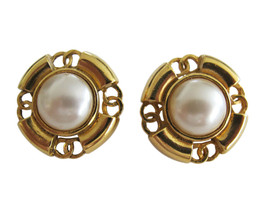 Vintage Chanel Gold Tone & Mabe Pearl Earring Clips - $245.02